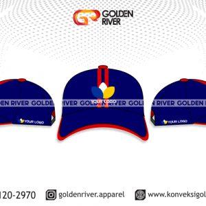 contoh desain topi biru garis merah