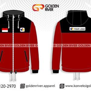 contoh desain jaket outdoor merah
