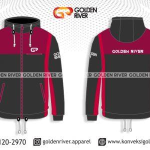 contoh desain jaket outdoor merah hitam