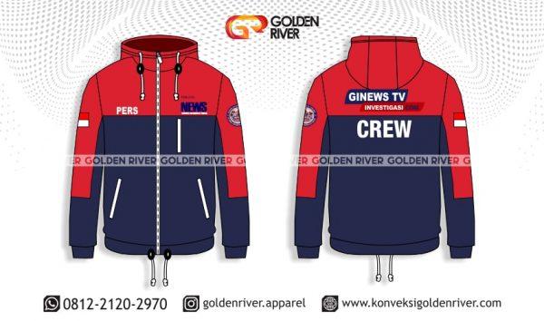 contoh desain jaket ginews merah