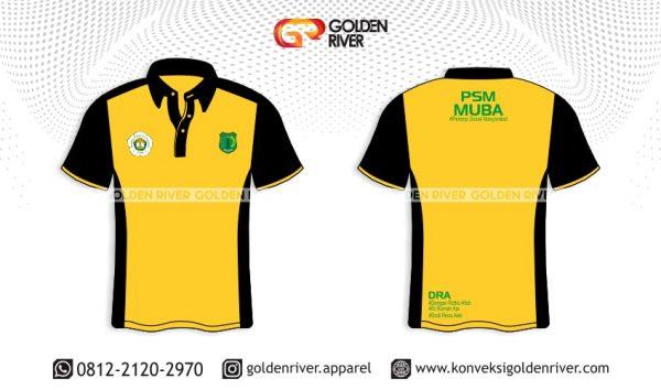 contoh desain polo shirt buma kuning