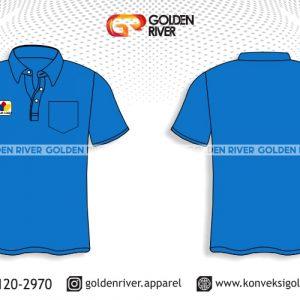 contoh desain polo shirt biru muda