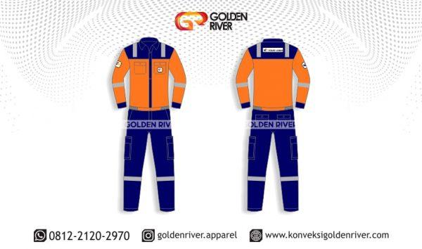 contoh desain wearpack coverall biru orange