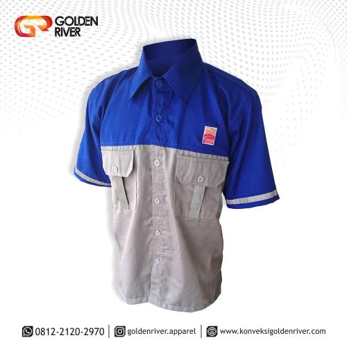 baju seragam kerja minamas biru dpan